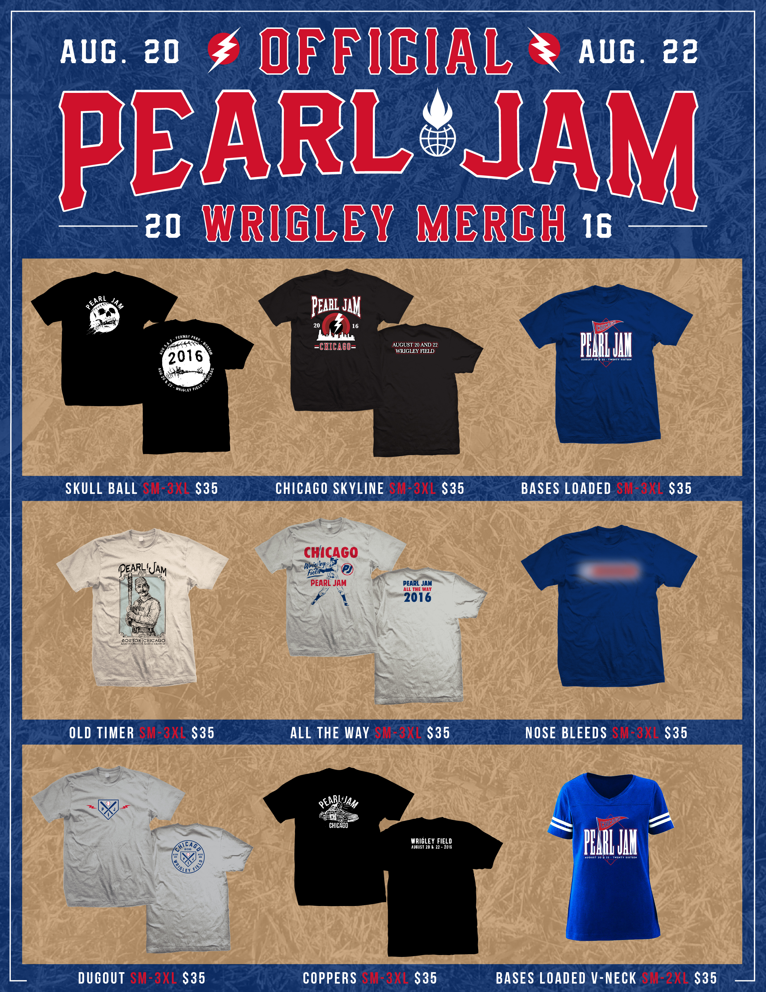 Image result for pearl jam wrigley bases loaded 2016 shirt