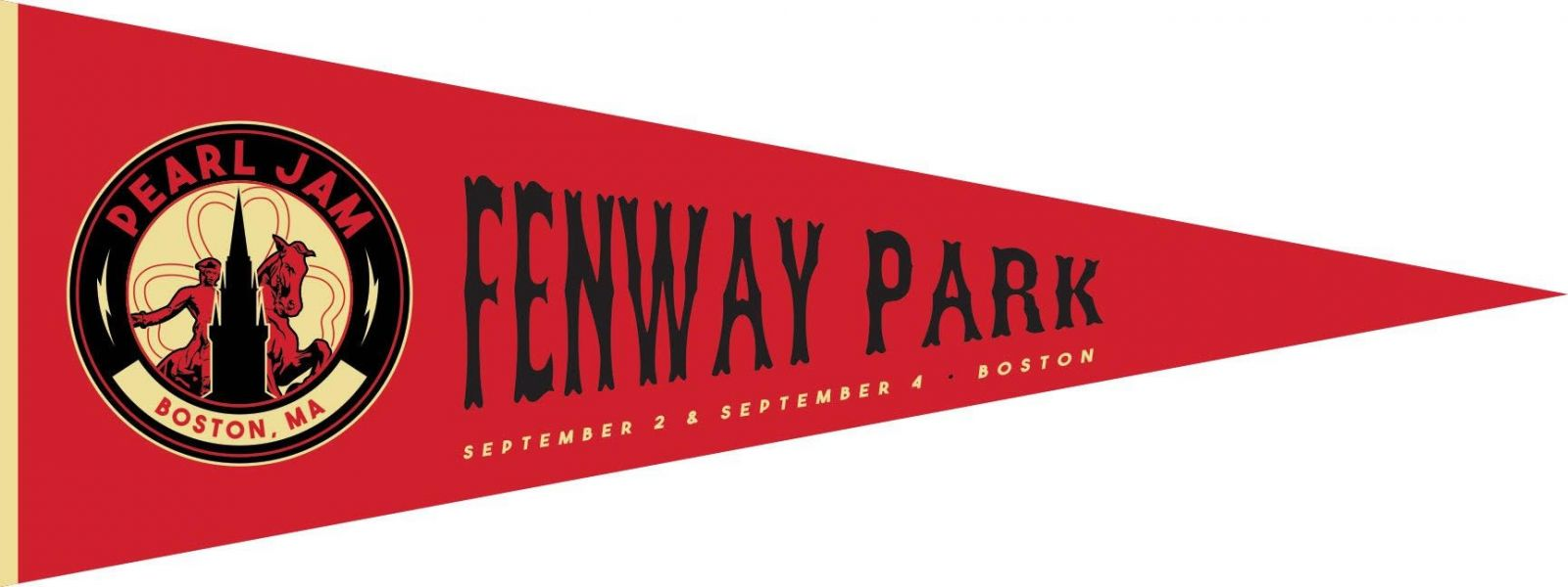 Image result for pearl jam 2018 fenway pennant